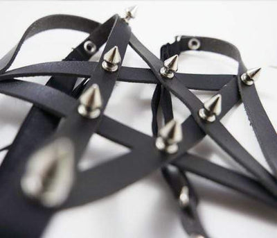Gothic Studded Pentagram Harness