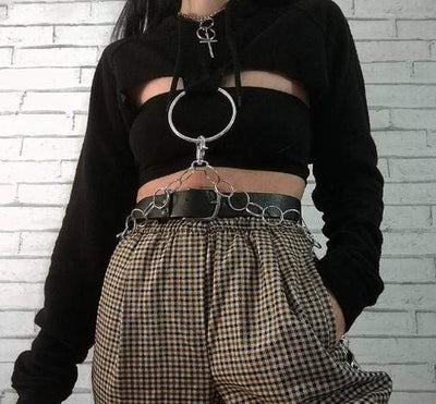 Gothic O-ring and Chain Crop Hoodie