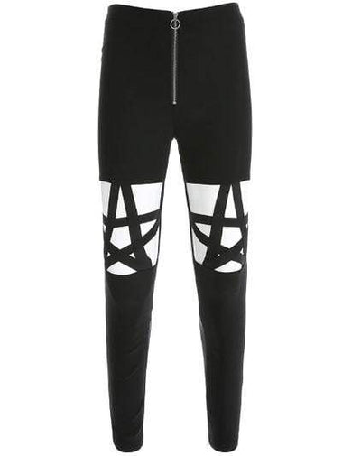 Gothic Pentagram Hollow Out High Waist Pants