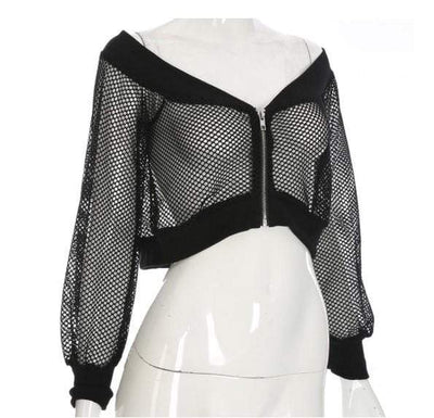Gothic Mesh Off Shoulder Crop Top