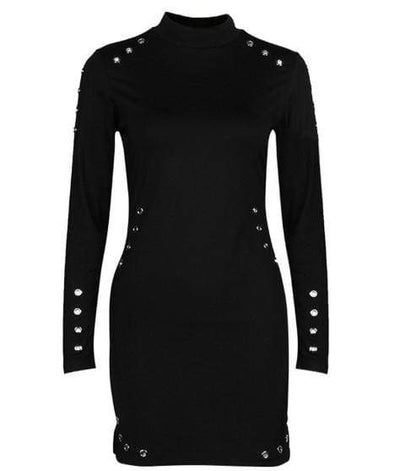 Gothic High-Necked Long Sleeve Dress