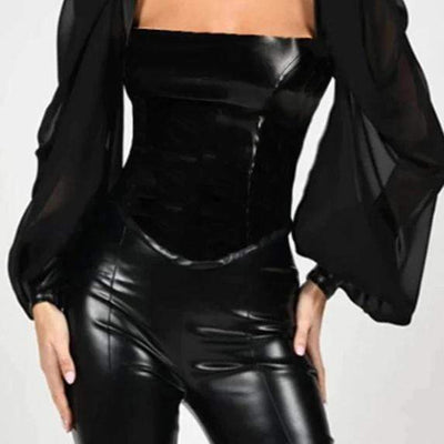 Deluxe Faux Leather Blouse