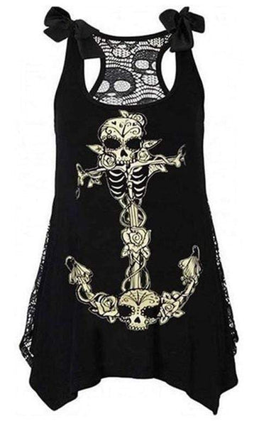 Skull Sleeveless Gothic Tops