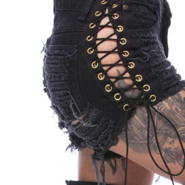 Lace Up Torn Black Short