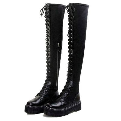 ELECTRA Black Lace Up Over The Knee Boots