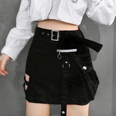 Gothic Grunge Zipper Skirt