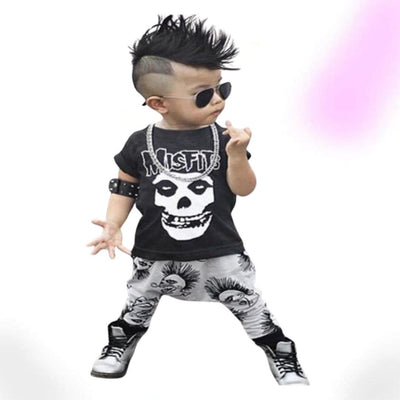 Skull Black Goth Outfits for Kids