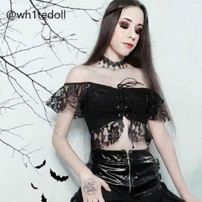 Gothic Black Lace Crop Top