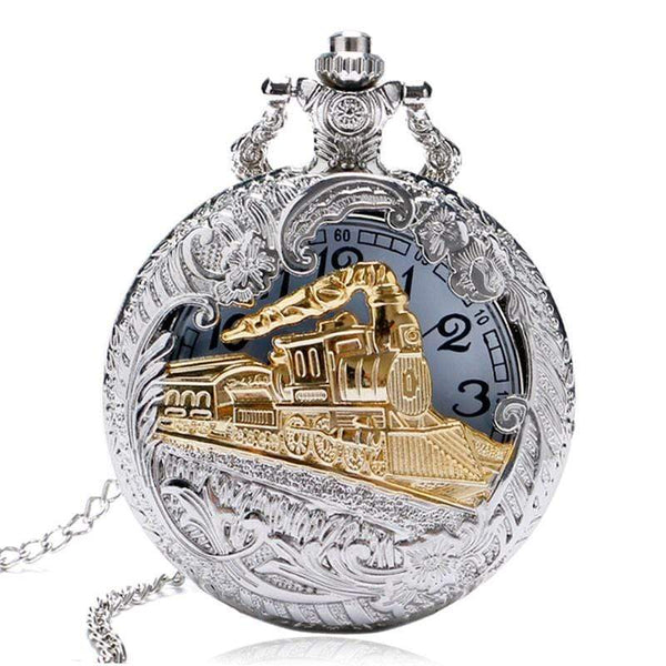 Gold Train Steampunk Necklace