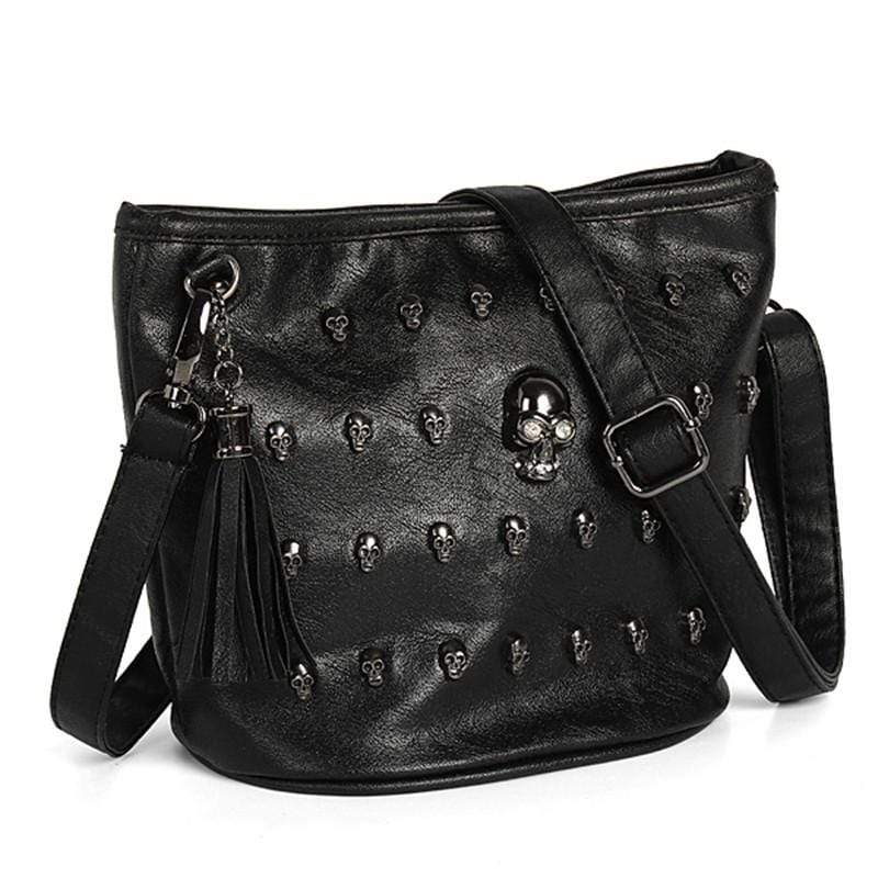Skull face studded purse