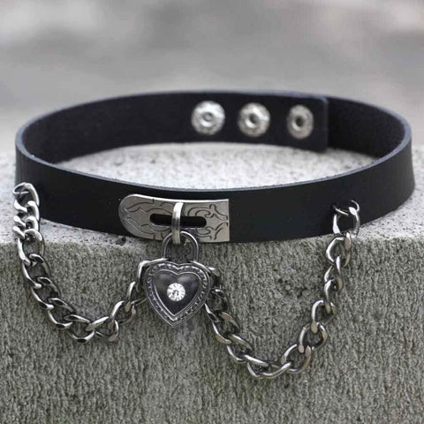 Chained Lock Heart Gothic Choker