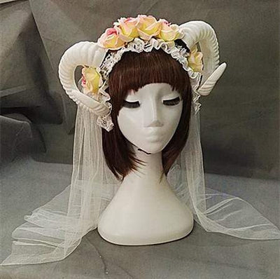 Gothic Horn Headdress and optional veil (white)