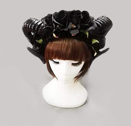 Gothic Horns headdress with optional black veil (black)