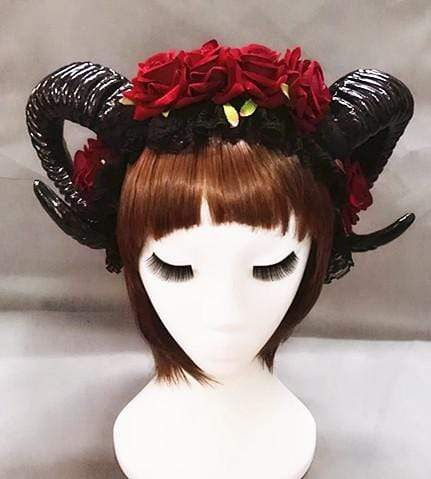 GOTHIC HORNS HEADDRESS WITH OPTIONAL BLACK VEIL (ROSE RED