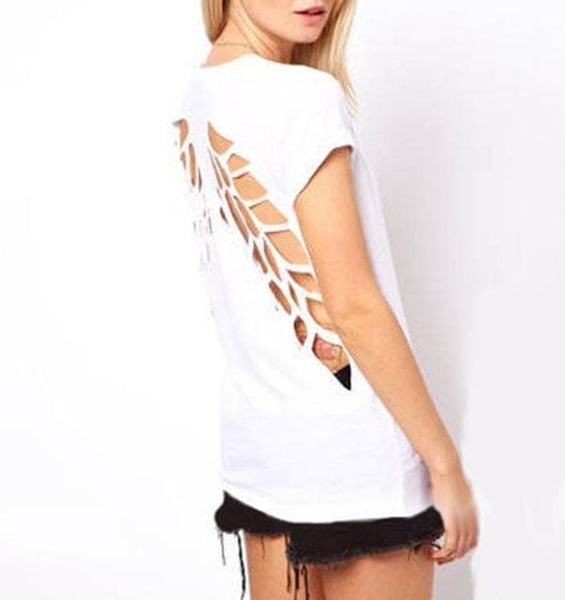 Bold Angel Wing Cut Out Shirt