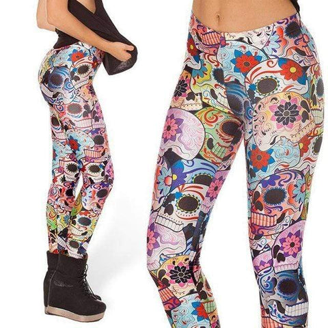 Colorful Skull Gothic Leggings