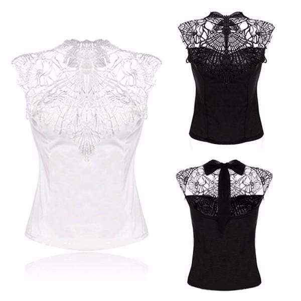 Gothic Laced Turtle Neck Blouse