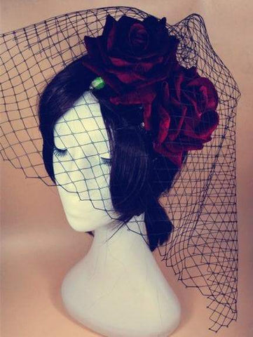 Gothic Red Flower Black Veil Hair Clip