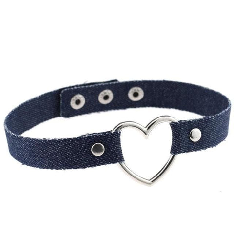 Denim Heart Choker