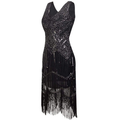 The Vintage Fringe Flapper Gothic Dress
