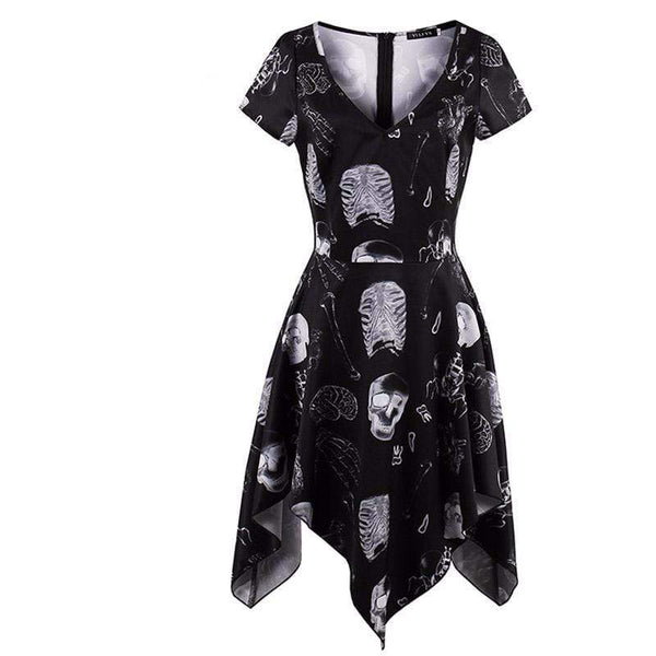 Skeleton Bone Printed Gothic Dress