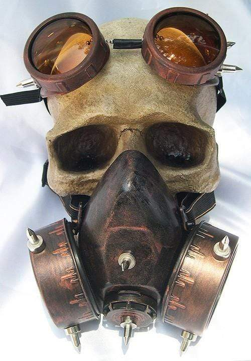 STEAMPUNK Nuclear Fall Out Spiked Respirator Gas Mask & Goggles