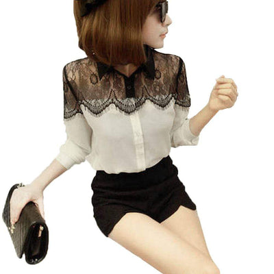 Long Sleeve Hollow Out Black Lace Chiffon Blouse