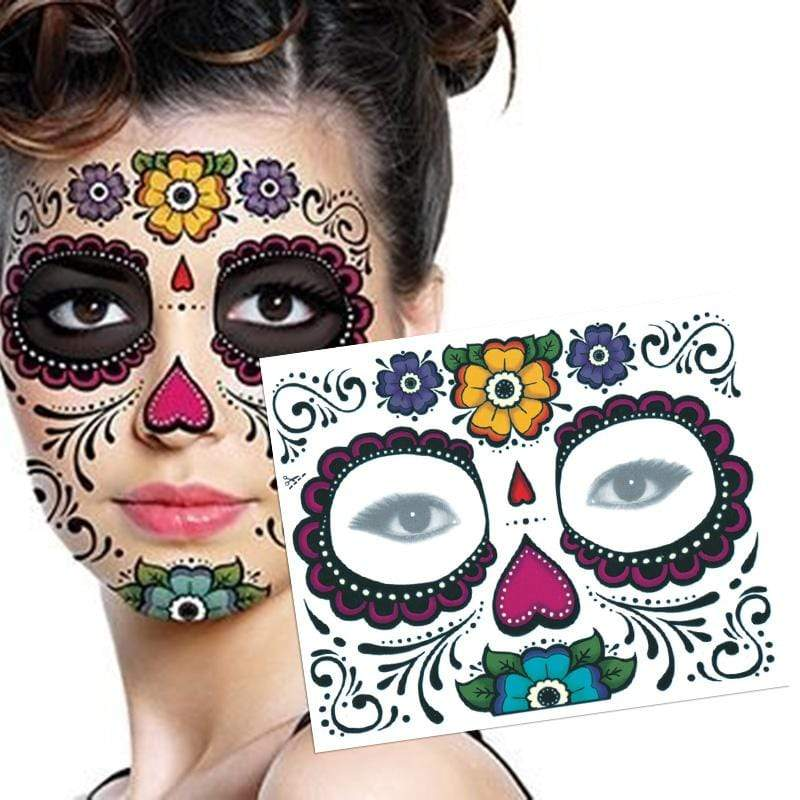 Day of the Dead Temporary Skull Face Tatts