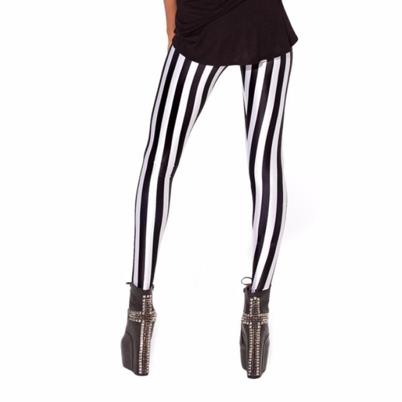 White/Black Stripped Leggings