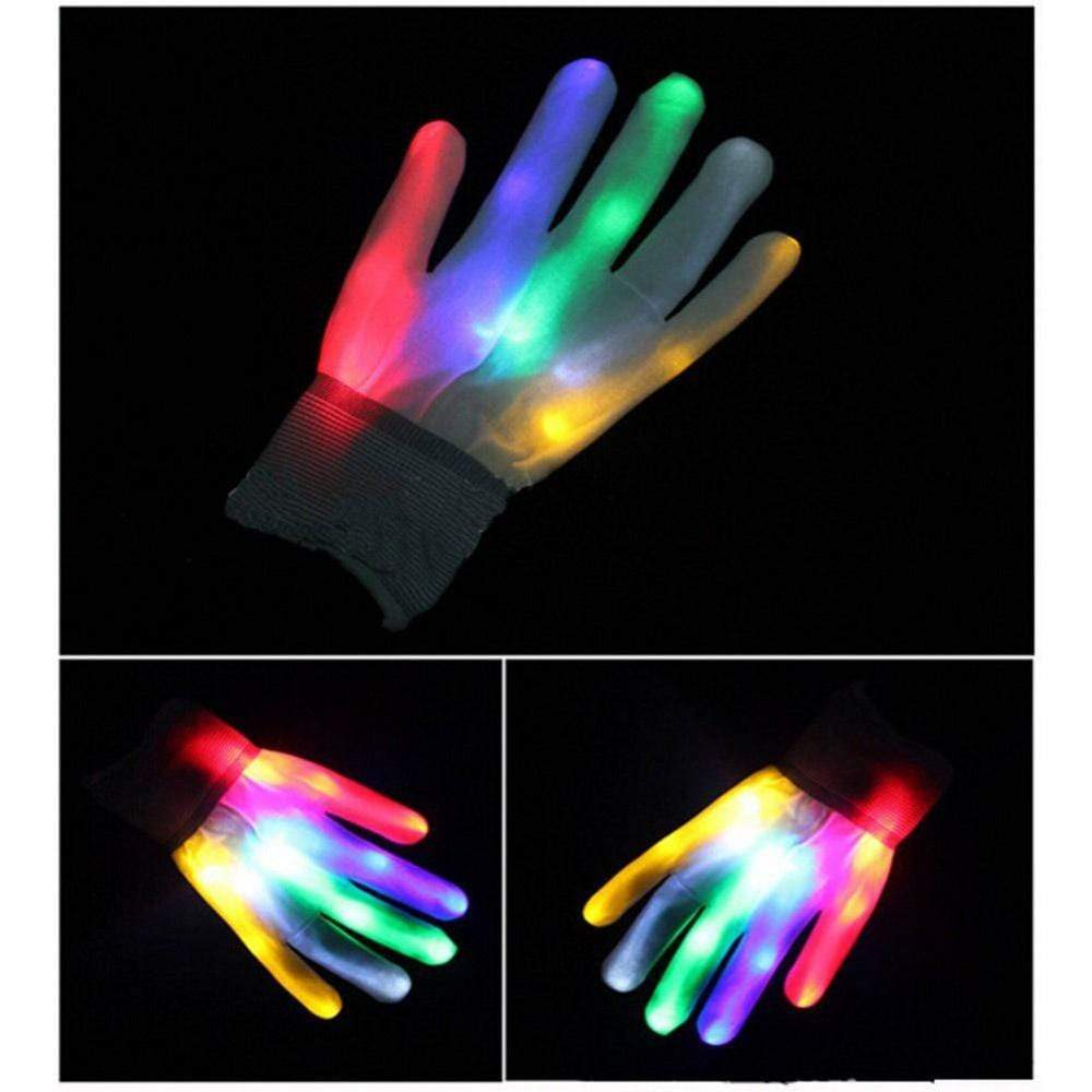Multi-Color LED Flashing Rave Gloves
