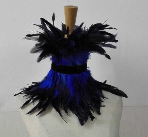 Black rooster feather Gothic collar
