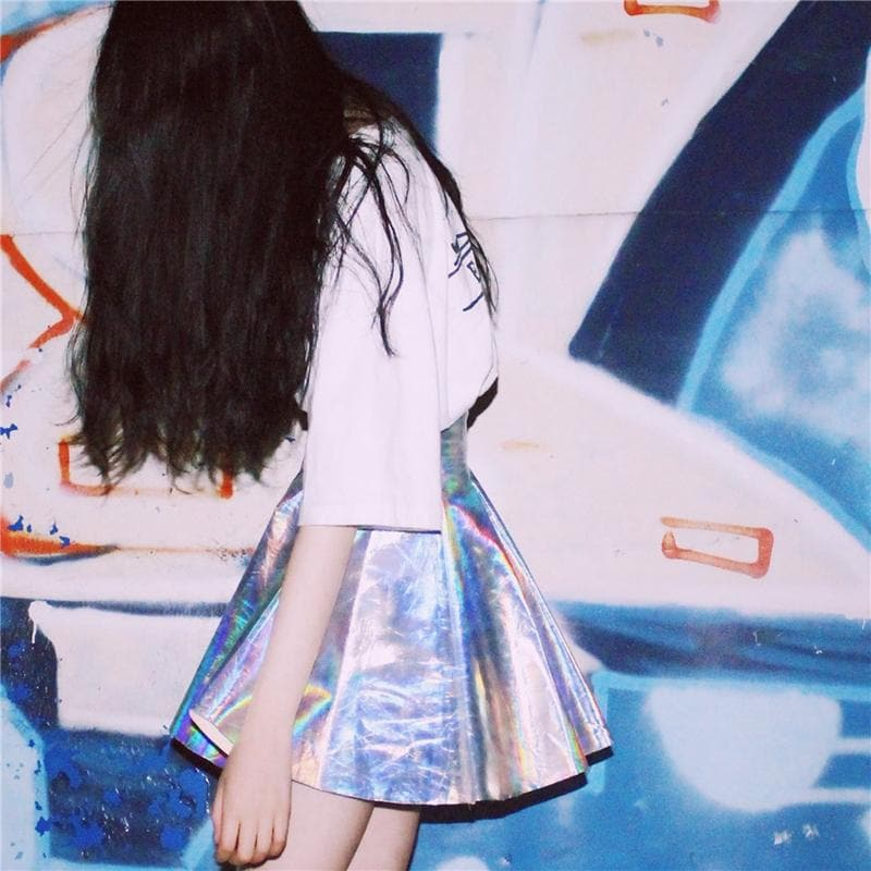 HOLOGRAPHIC GOTHIC MINI SKIRT