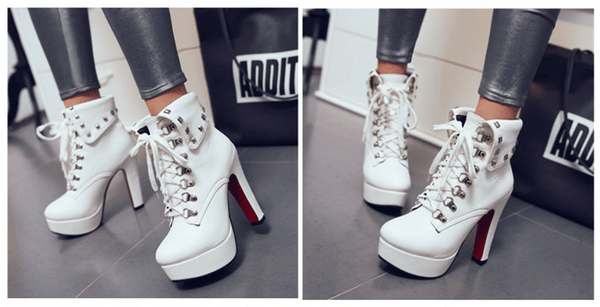 FIFI Lace-Up Heel Gothic Boots