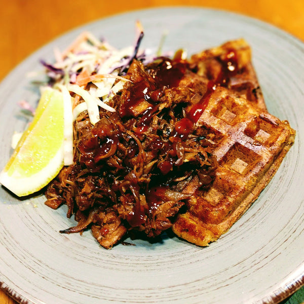 New Menu Item: Gluten Free Waffles & BBQ Jack with Fresh Chopped Slaw