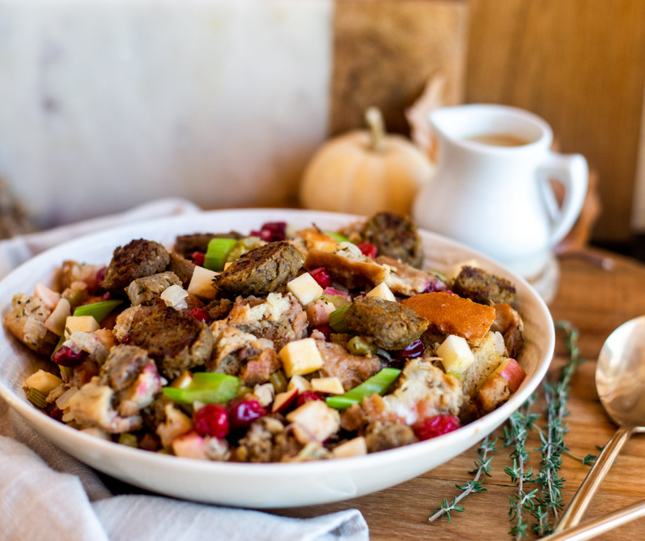 Apple and Sage Stuffing with Plant Based Very British Bangers | Holiday Vegan Recipes