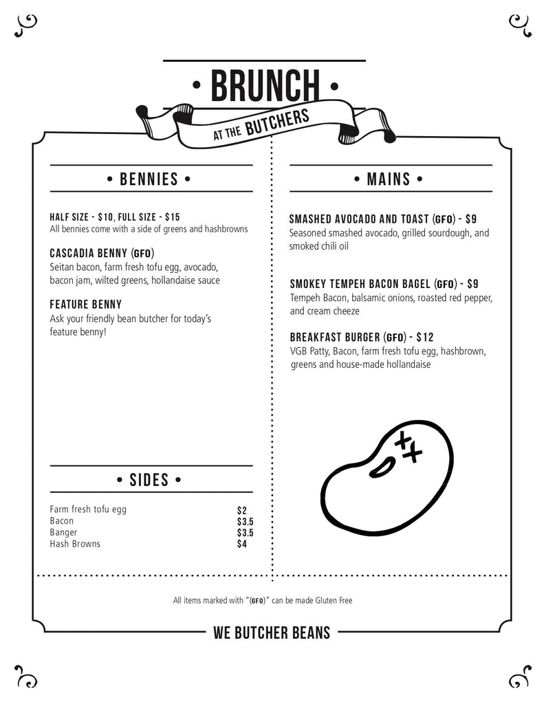 The Very Good Butchers Brunch Menu