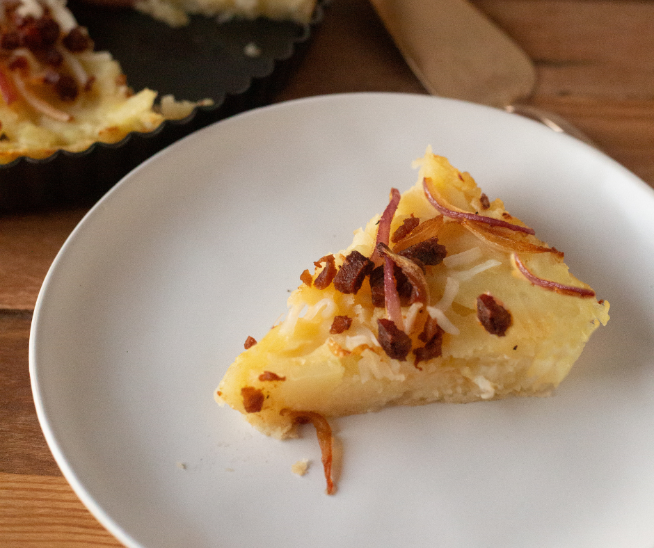 Vegan Caramelized Onion & Potato Tart with The Very Good Bacon