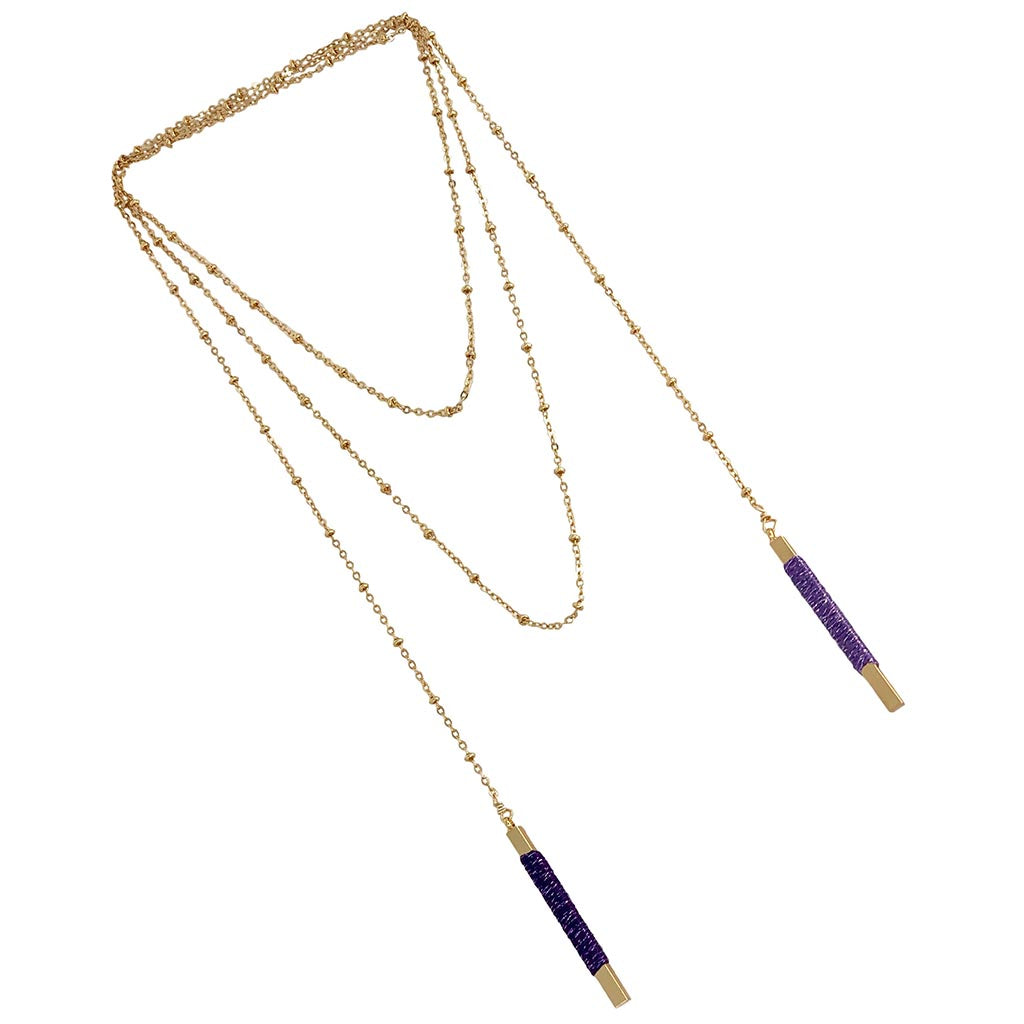 "Somewhere_Jewelry_Necklace ""Lynx"" Bolo-Necklace-Amethyst and Periwinkle-"