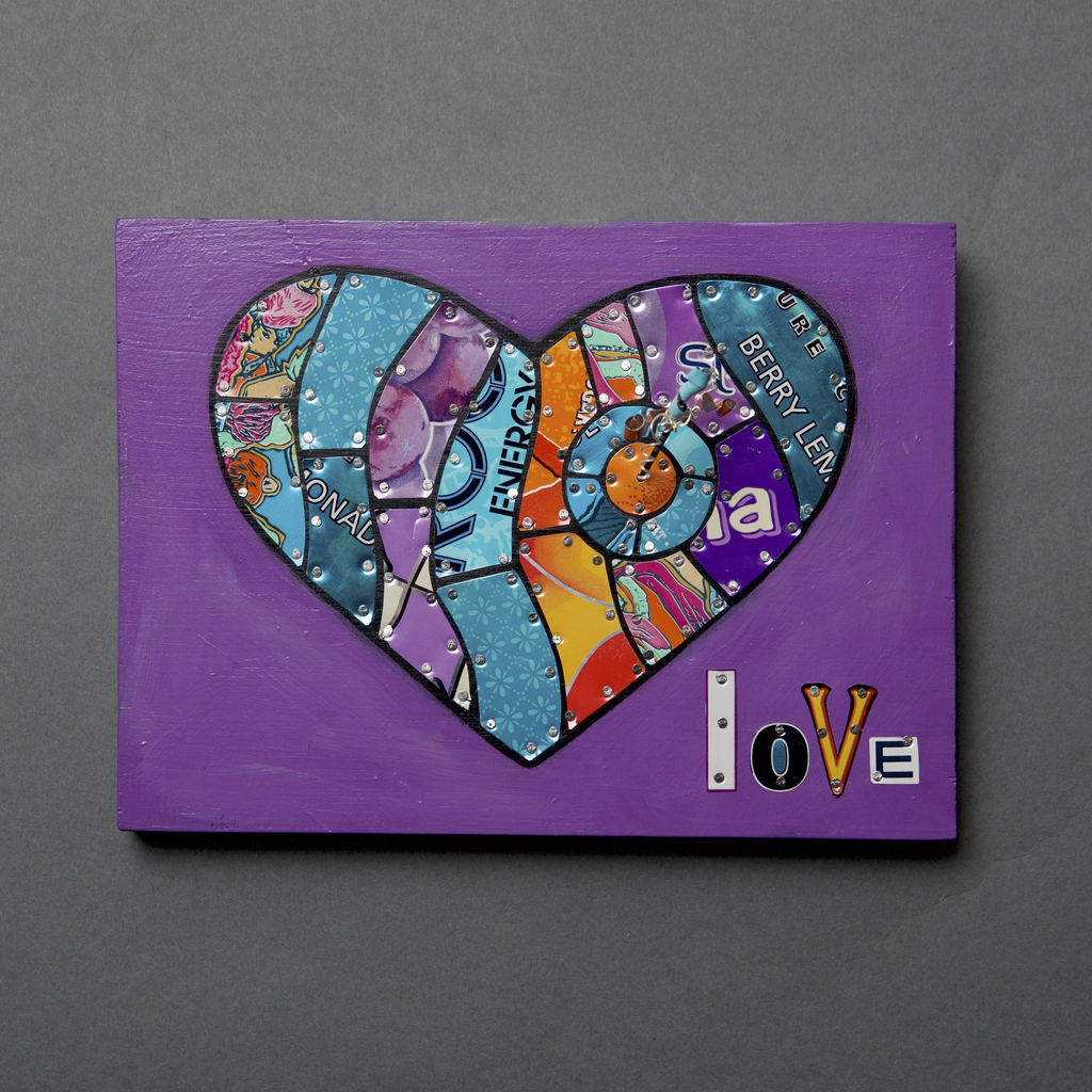 Love Struck Heart - Pop can art - © Blue Pomegranate Gallery