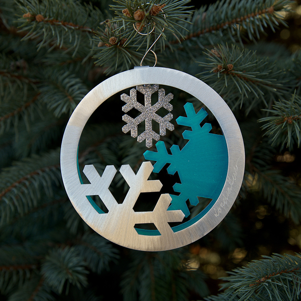 Teal Snow Circle 2-sided ornament by Sondra Gerber - © Blue Pomegranate Gallery