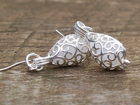 White Milk Glass in Silver Filigree Teardrop Earrings by Laura Bergman - © Blue Pomegranate Gallery