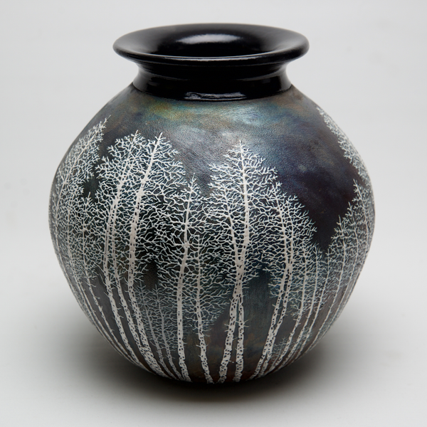 Lg round Raku Birch by Tim Axtman