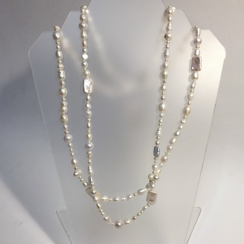 "Extra Long White Random Pearl Necklace 72"" - © Blue Pomegranate Gallery"