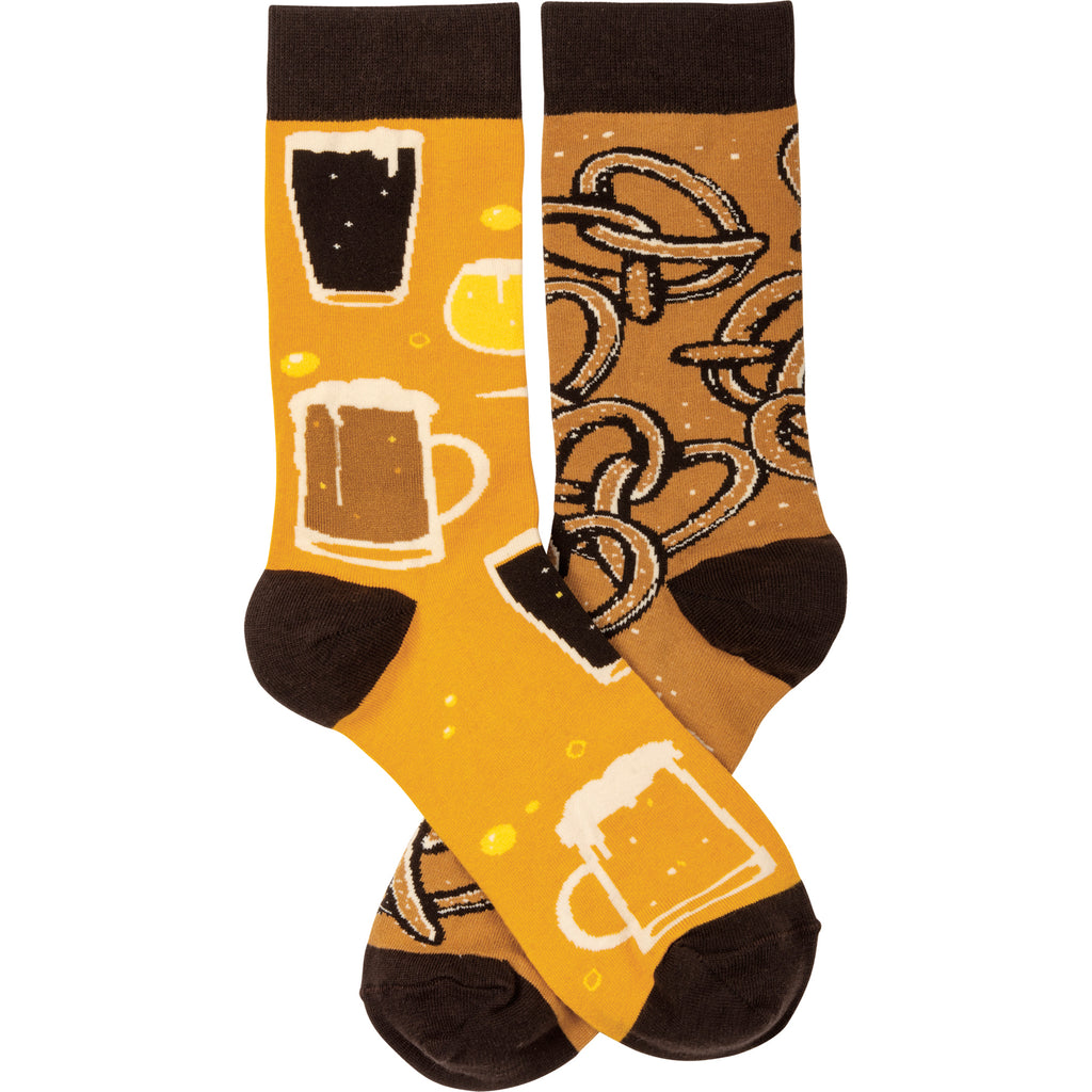 Beer & Pretzels Socks from Primitives by Kathy - © Blue Pomegranate Gallery