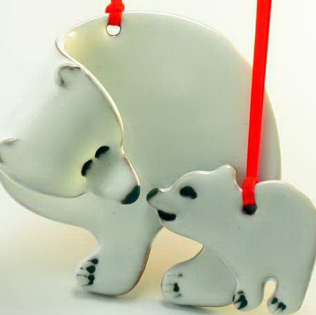 Polar Bear with Cub Ornament by Molly Saunders - © Blue Pomegranate Gallery
