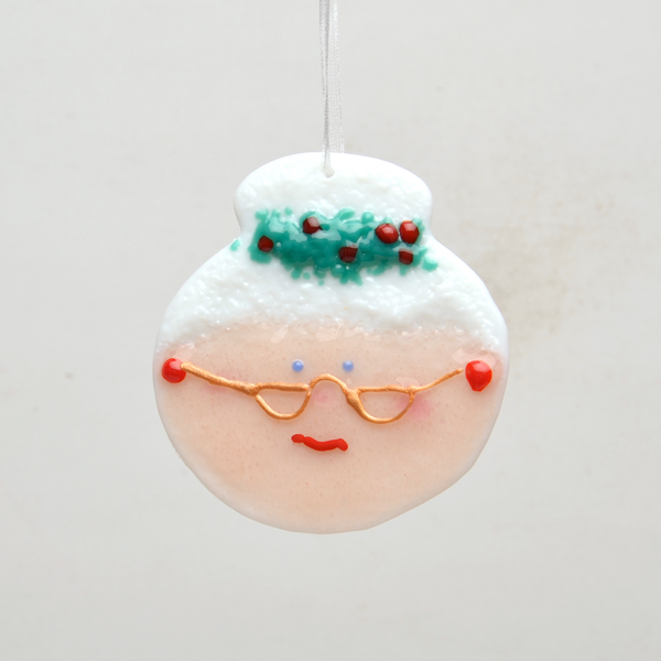 Mrs. Claus Fused Glass Ornament by Anne Nye - © Blue Pomegranate Gallery