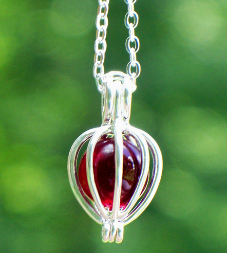 Ruby Silver Drop Necklace by Laura Bergman