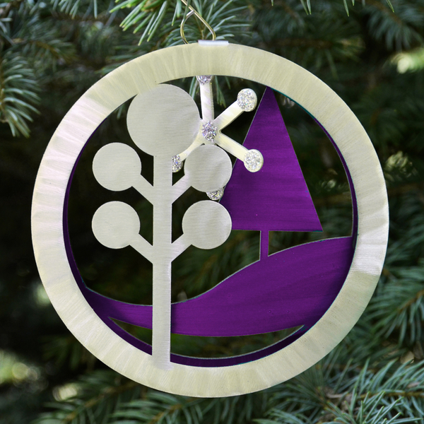 Purple Retro Landscape 2-sided ornament by Sondra Gerber - © Blue Pomegranate Gallery