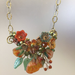 Orange & Teal Gypsy Rose Necklace by Mary Lowe - © Blue Pomegranate Gallery