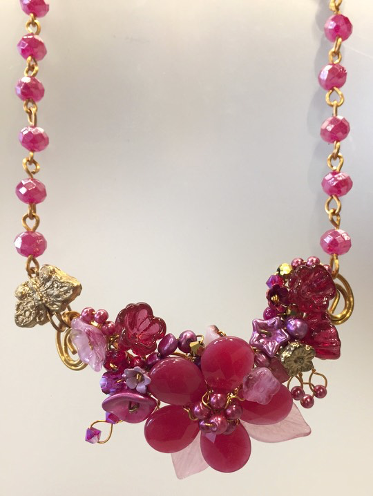 Pink Flower Garden Necklace by Mary Lowe - © Blue Pomegranate Gallery